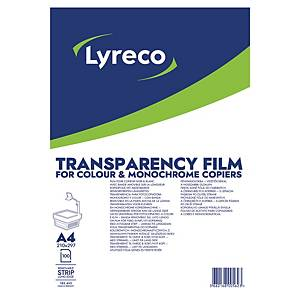LYRECO A4 SENSOR STRIP CLEAR PHOTOCOPIER TRANSPARENCY FILM - BOX OF 100 SHEETS