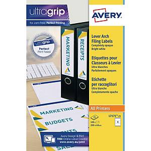 Avery L7171-25 Filing labels 200x60mm 4-UP - Pack Of 25