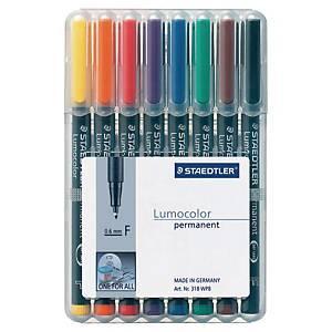 Staedtler® Lumocolor OHPen 318 F permanente marker, assorti kleuren, per 8 stuks