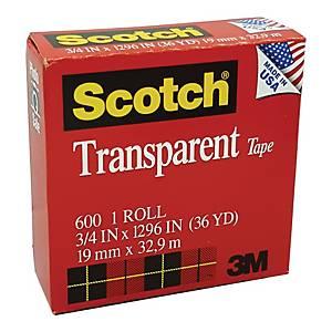 Scotch 600 Transparent Tape 0.75 inch x 36yd
