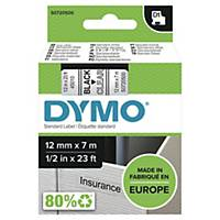 Dymo D1 Labels, Black Print On Clear, 12mm X 7M