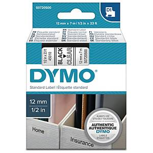 DYMO D1 LABELLING TAPE 7M X 12MM - BLACK ON CLEAR