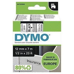 Merketape Dymo D1, 12 mm, sort/klar