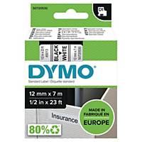 Taśma DYMO® do drukowania etykiet 12 mm, kolor druku/tła: czarny/biały