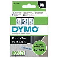 Ruban Dymo D1 - 12 mm - bleu sur blanc