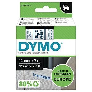 Märkband Dymo D1, 12 mm, vitt/blått