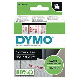 Märkband Dymo D1, 12 mm, vitt/rött