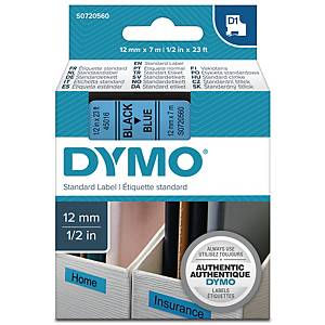 Teksttape Dymo D1, 12 mm, sort/blå