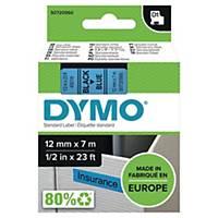 Merketape Dymo D1, 12 mm, sort/blå