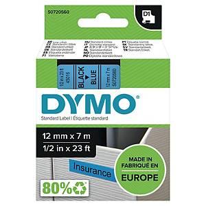 Fita Dymo D1 - 12mm - poliéster - texto preto/fundo azul