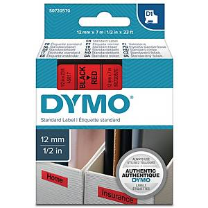 Teksttape Dymo D1, 12 mm, sort/rød