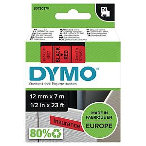Dymo D1 Labels, 12mm X 7M Roll, Black Print On Red