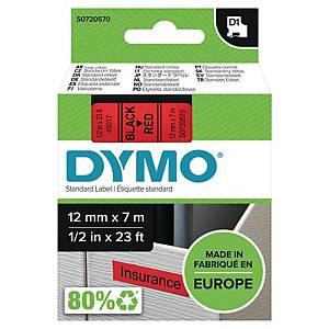 Märkband Dymo D1, 12 mm, rött/svart