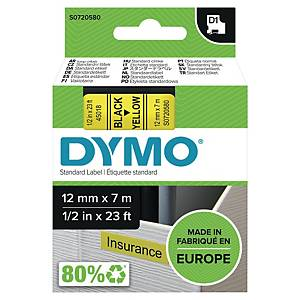 Dymo D1 Labels, Black Print On Yellow, 12mm X 7M