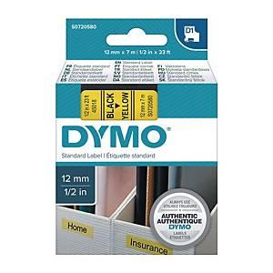 Dymo 45018 D1 Tape 12mm x 7m Black on Yellow