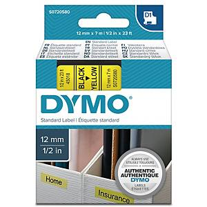 DYMO D1 LABELLING TAPE 7M X 12MM - BLACK ON YELLOW