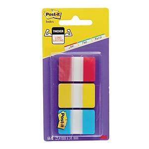 Zakładki indeksujące Post-it® STRONG, 3 klasyczne kolory, w opakowaniu 66 sztuk