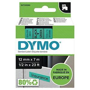 Teksttape Dymo D1, 12 mm, sort/grøn