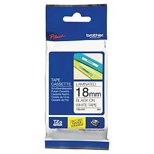 BROTHER P-TOUCH TZ LABELLING TAPE 8M X 18MM - BLACK ON WHITE