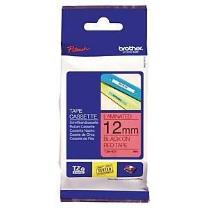 Brother TZe-431 etiketteerlint op tape, 12 mm, zwart op rood