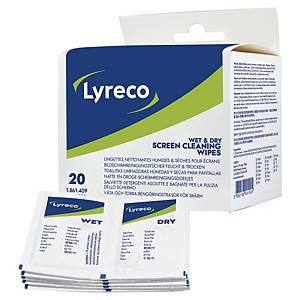 Lyreco reinigingsdoekjes droog/nat voor schermen, pak van 2 x 20 doekjes