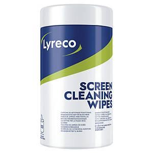 Lyreco vochtige doekjes voor reiniging van beeldschermen, pak van 100 doekjes