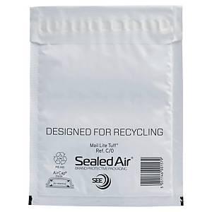 Mail Lite® Tuff luchtkussenenveloppen, PE, 150 x 210 mm, wit, per 100 stuks