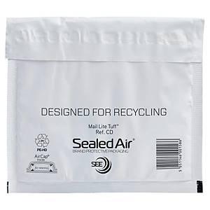 Mail Lite® Tuff luchtkussenenveloppen, PE, 180 x 160 mm, wit, per 100 stuks