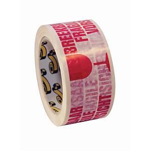 Tape met waarschuwing  breekbaar , pvc, rood-wit, 50 mm x 66 m, per rol tape