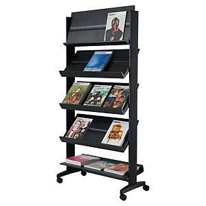 Présentoir mobile Paperflow Universel - large - 5 tablettes orientables - noir