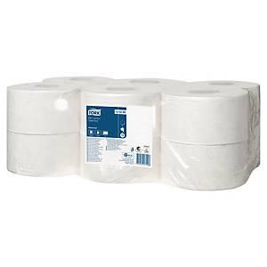 Tork Mini Jumbo toiletpapier, 2-laags, 850 vellen, pak van 12 rollen