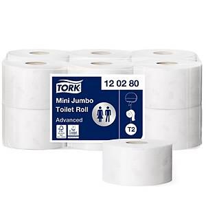 Toilettenpapier Tork Mini Jumbo 120280, 2-lagig, Packung à 12 Rollen