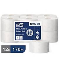 Toilettenpapier Tork 120280 Advanced, Mini Jumbo, 2-lagig, 850 Blatt, 12 Stück