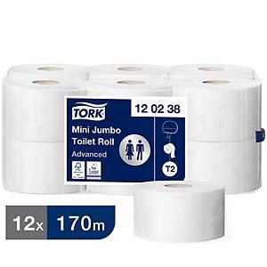 Tork T2 White Mini 2 Ply Jumbo Toilet Roll 170M - Pack of 12