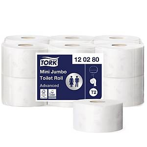 Toalettpapper Tork T2 Advanced Jumbo Mini, 2-lagers, förp. med 12 rullar