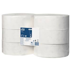 TORK T-BOX JUMBO 2-PLY RECYCLED WHITE TOILET ROLLS 95MM X 350M - PACK OF 6