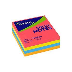 Lyreco kubus memoblok, herkleefbaar, 4 neon kleuren, 76 x 76 mm, per stuk