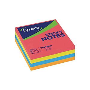 Lyreco Repositionable Notes Cube Neon Colour 3x3 inch - 320 Sheets