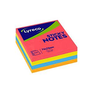Lyreco Neon Sticky Notes 76x76mm Cube 320-Sheets Asst