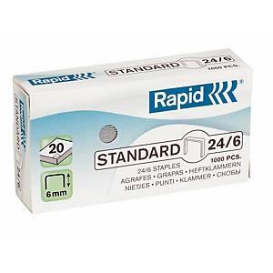 Agrafes Rapid Standard 24/6, galvanisées, 20 feuilles, les 1.000 agrafes