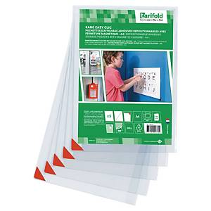 Kang Easy Clic signage pockets – A4 – repositionable adhesive - pack of 5