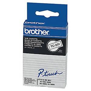Schriftband Brother TC-201, Breite: 12mm, laminiert, schwarz auf weiß