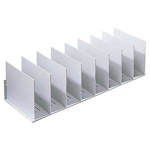 Paperflow Vertical Organiser w/10 Adjustable Separators 210x800x275mm L.Grey