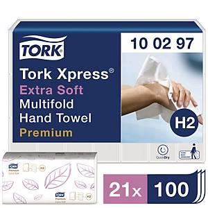 Serviette Tork Xpress® Multifold Extra Soft, 2 épaisseurs, 21 x 100 serviettes