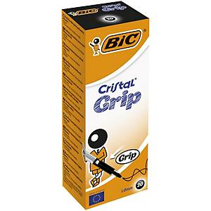 Bic Cristal Grip Ball Point Black Pens 0.7mm Line Width - Box of 20