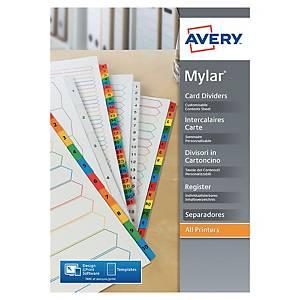 Intercalaire alphabétique Avery A4+ - carte blanche - 20 touches