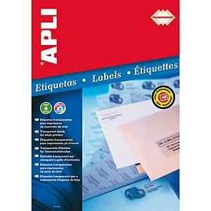 Caixa 10 etiquetas autocolantes Apli 10053 - 210x297 mm - transparentes