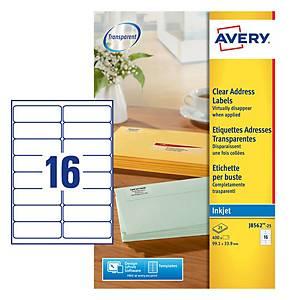Caixa 400 etiquetas autocolantes Quickpeel J8562 - 99,1x33,9mm - transparente