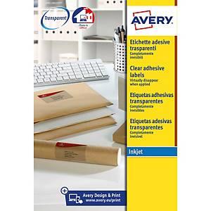 Caixa 200 etiquetas autocolantes Quickpeel J8565 - 99,1x33,9mm - transparente
