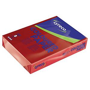 Farvet papir Lyreco, A4, 80g, kirsebærrød, pakke a 500 ark